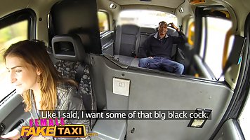 Female taxi driver is being fucked by a horny black client, ...