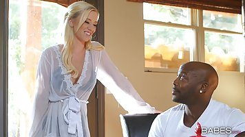Seductive blonde girl, Bailey Brooke is fucking a black dude...