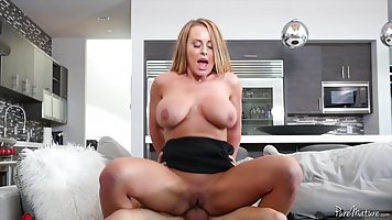 Busty blonde mom is spreading her legs wide open and getting...