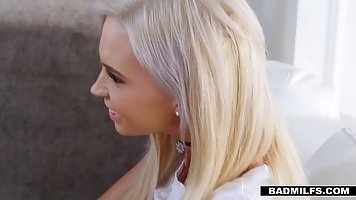 Amazing blonde babe is about to have a threesome with her ma...