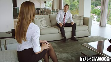 Seductive secretary is getting fucked in the ass, while in a...