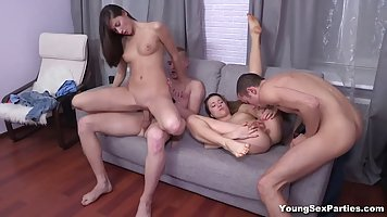 Beautiful girls are having group sex with their handsome fri...