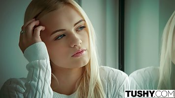 Seductive blonde girl with blue eyes got down and dirty with...