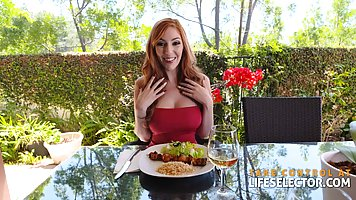 Red haired woman, Lauren Phillips is giving a titjob to her ...