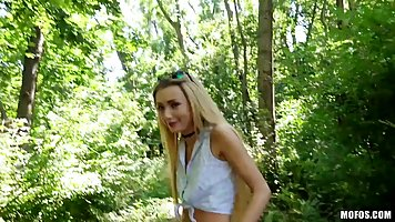 Fresh blonde teen, Empera is having a quickie in the forrest...