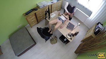 Big titted babe is fucking her insurance agent, in his offic...