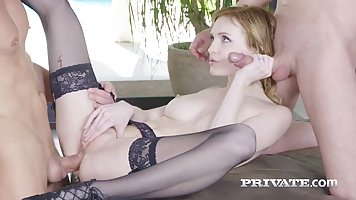Charismatic blonde, Belle Claire likes to have threesomes wh...