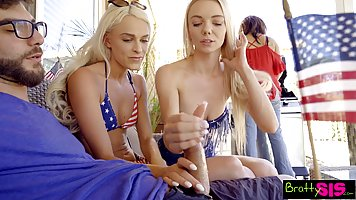 Two blonde step sisters are having a really perfect threesom...