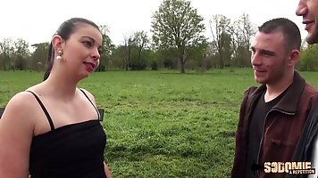 German brunette, Lola is in the mood for casual sex with a m...