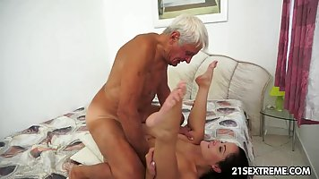 Elderly man knows how to hook up with a younger brunette, Do...
