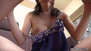 Mature Asian brunette is sucking a hard, black cock and gett...