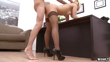 Dirty minded blonde boss, Ashley Fires is using every opport...