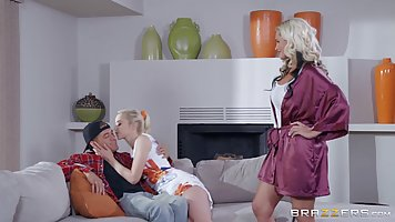 Hot blonde milf with big tits is sharing a guy with her step...