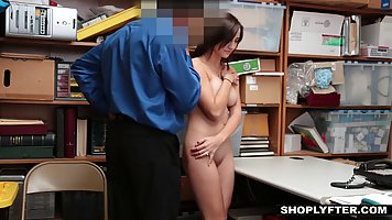 Roslyn Belle is sucking cock in the storage room, while havi...
