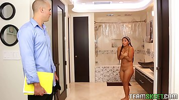 Sexy girl was shy when her step- father saw her in the bathr...