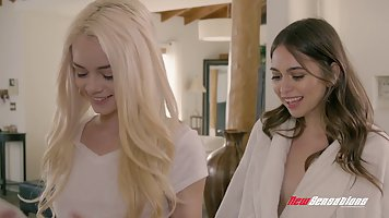 Two adorable sensual babes, Elsa Jean and Riley Reid are hav...