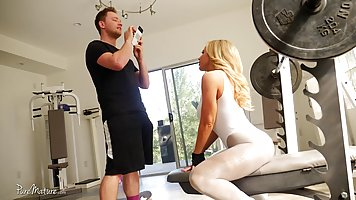 Blonde woman is having casual sex with her fitness instructo...