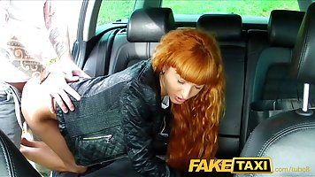 Red haired girl is having casual sex with a taxi driver, in ...