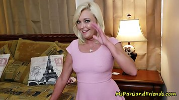 Great looking blonde woman with small tits, Ms Paris got her...
