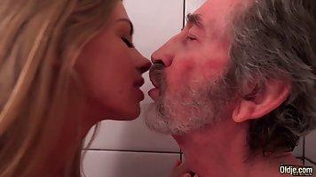 Seductive, blonde slut fucked an elderly man from the neighb...