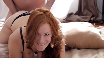 Dirty minded woman is getting banged from the back while mak...