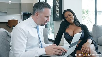 Moriah Mills is a smashing, black woman with big tits, who n...