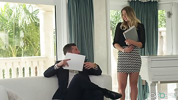Horny guy is about to fuck his smoking hot secretary after g...