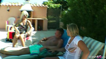 German woman made a private party by the swimming pool and t...