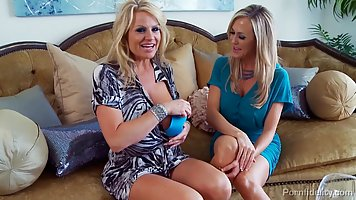 Gorgeous blonde milfs are drinking wine and getting ready fo...
