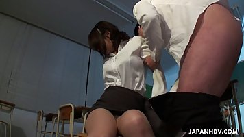 Japanese woman is working as a teacher and often having casu...
