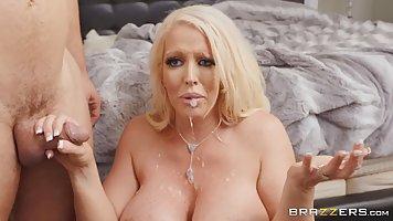 Seductive blonde milf with big tits, Alura Jenson got a thro...