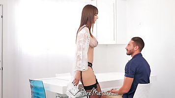 Busty milf, Lexi Luna is slowly riding a big cock, in the mi...