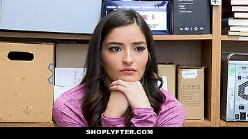 Slutty teen brunette was caught shoplifting and offered her ...