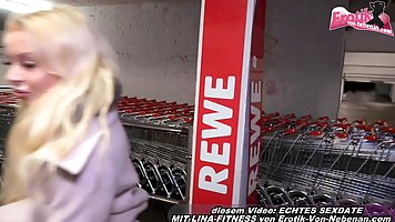 German blonde is sucking cock and having anal sex in a publi...
