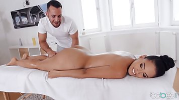 Amazing brunette is getting an exciting massage, that includ...