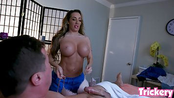 Busty blonde woman, Richelle Ryan is fucking a guy in her ma...