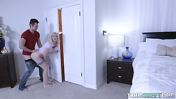 Kinky blonde teen is riding her step- brother's dic...