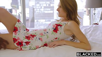 Teen in a floral dress, Ashley Lane is about to have interra...