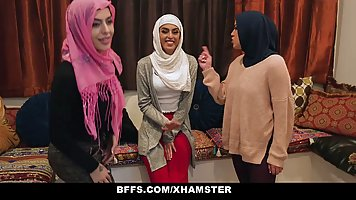 Girls with head scarfs are in the mood for a group fuck with...