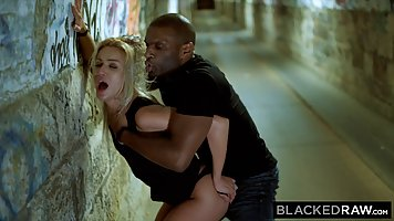 Slutty blondes are getting fucked by black guys, in the tunn...