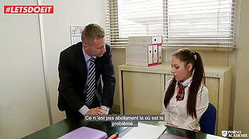 Pigtailed schoolgirl, Rebecca fucked one of the professors, ...