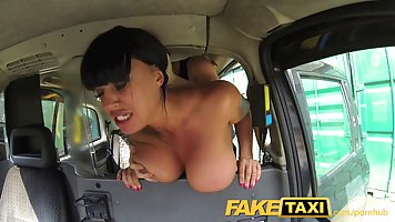 Voluptuous brunette is having sex with a stranger, in the ba...