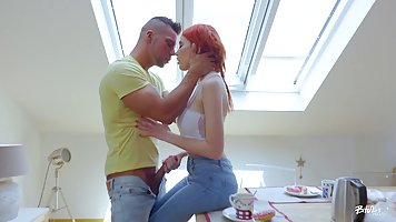 Hot, red haired bitch turns into a real slut once her pussy ...