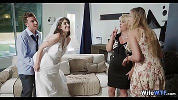 Horny bride is eager to get fucked right before the wedding,...
