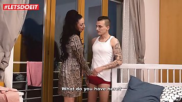 Horny woman spreads her legs wide and lets her step- son fuc...