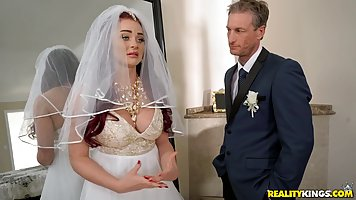 Red haired bride is getting fucked right before the wedding,...