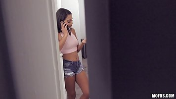 Latin babe got blackmailed because her roommate wanted to fu...
