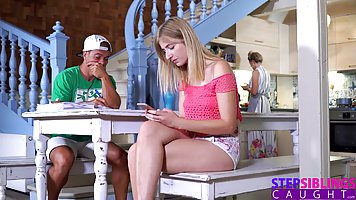 Blonde babe is doing it with her fuck buddy, because her boy...