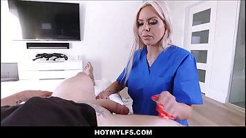 Blonde milf is working as a nurse and quite often fucking mu...