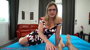 Blonde woman with glasses, Cory Chase sucks dick in a POV st...